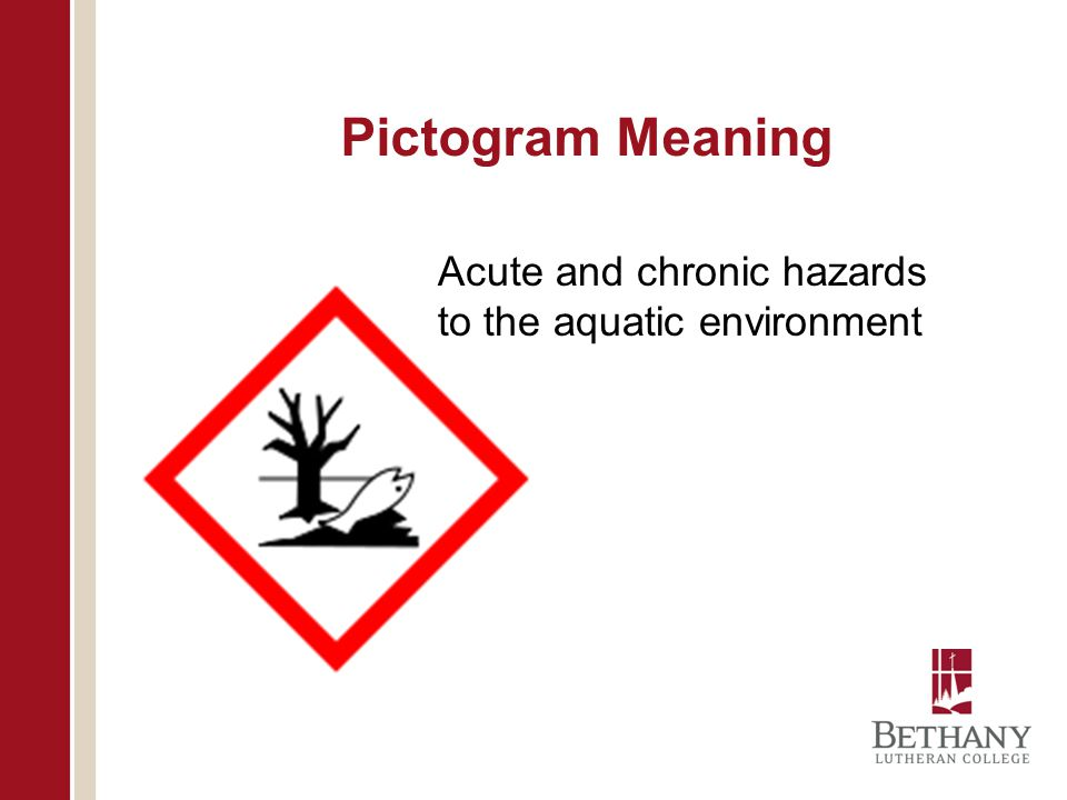Pictogram Meaning Acute and chronic hazards to the aquatic environment