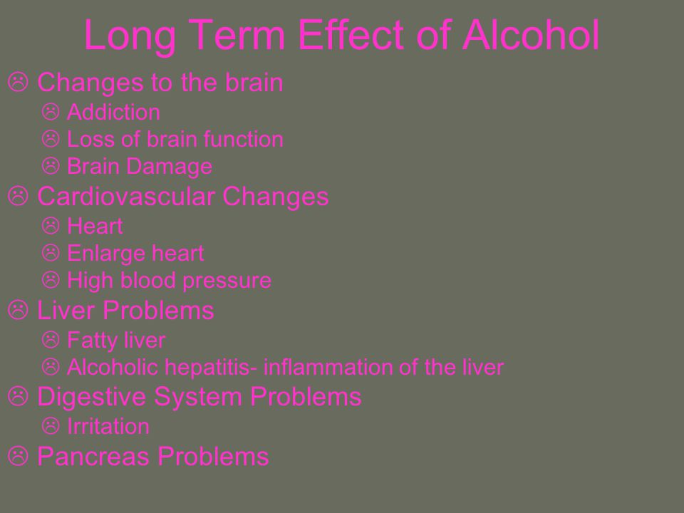 Long Term Effect of Alcohol