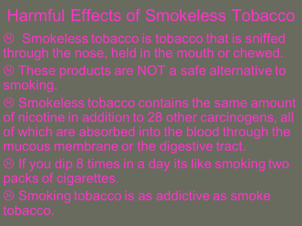 Harmful Effects of Smokeless Tobacco