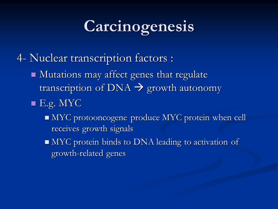 Carcinogenesis 4- Nuclear transcription factors :