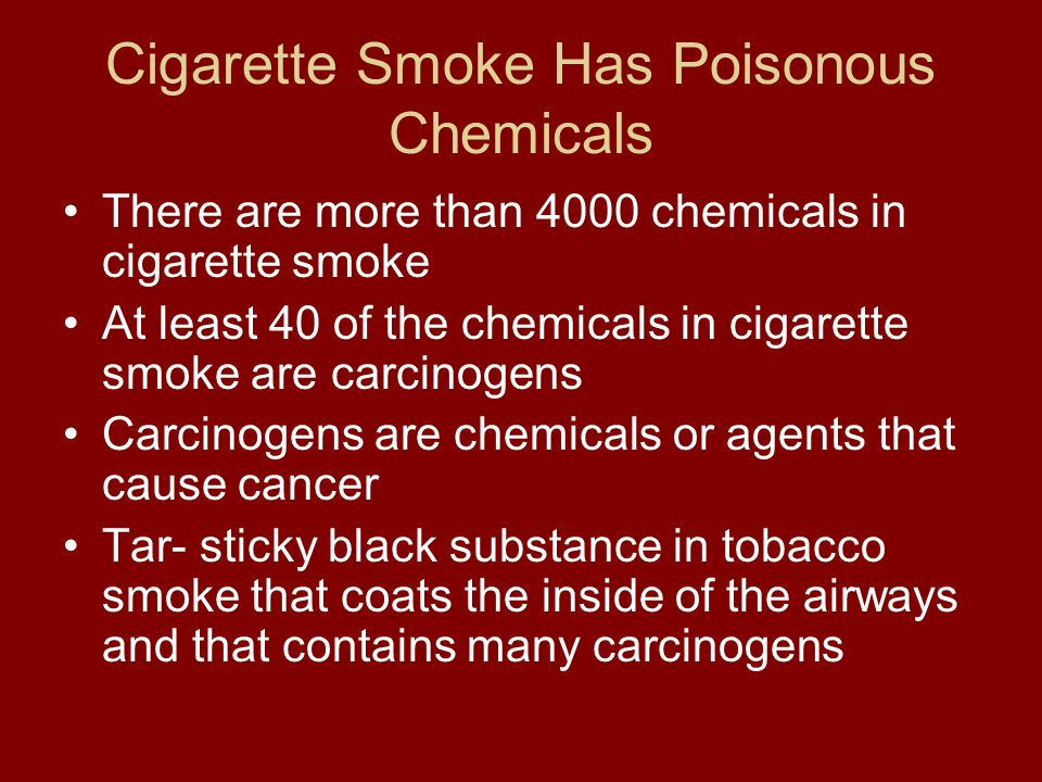 Cigarette Smoke Has Poisonous Chemicals