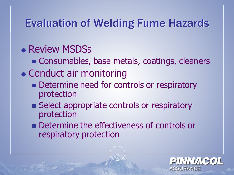 Evaluation of Welding Fume Hazards