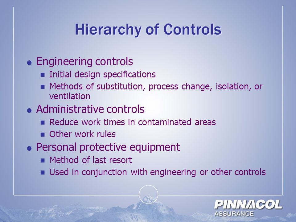 Hierarchy of Controls Engineering controls Administrative controls