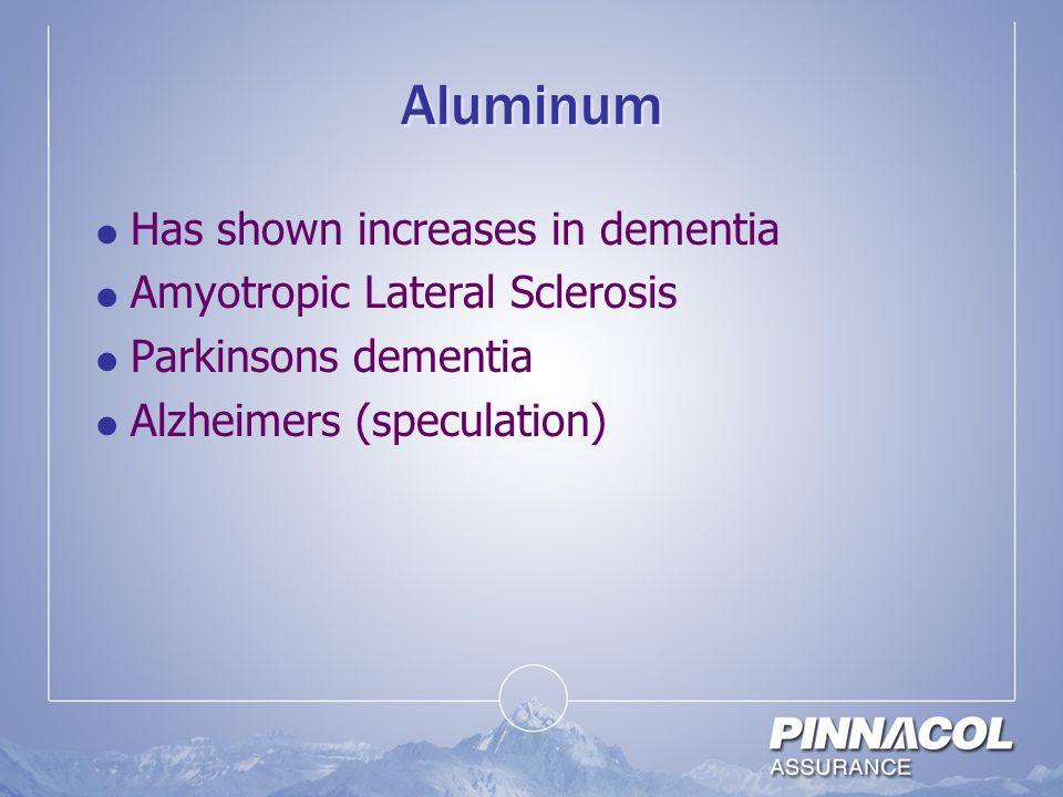 Aluminum Has shown increases in dementia Amyotropic Lateral Sclerosis