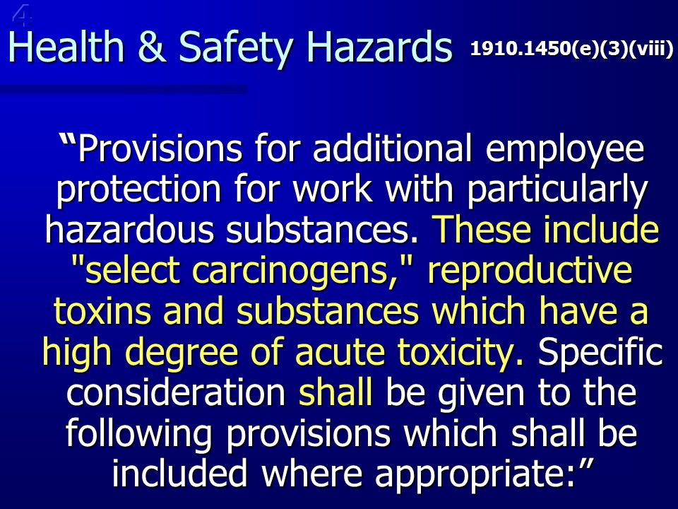 Health & Safety Hazards