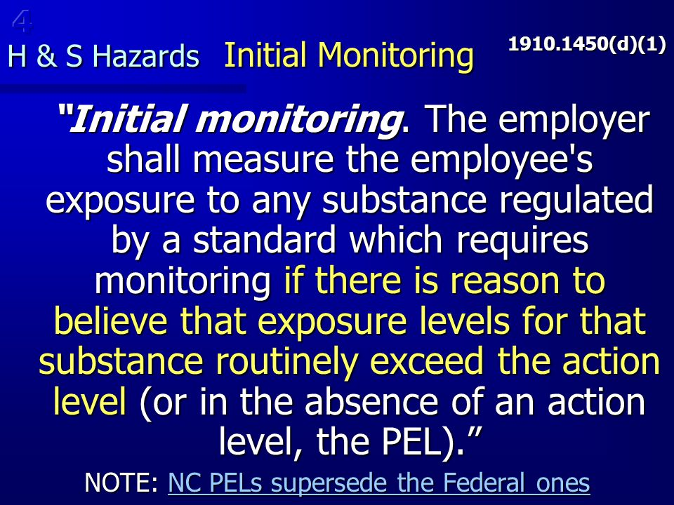 H & S Hazards Initial Monitoring
