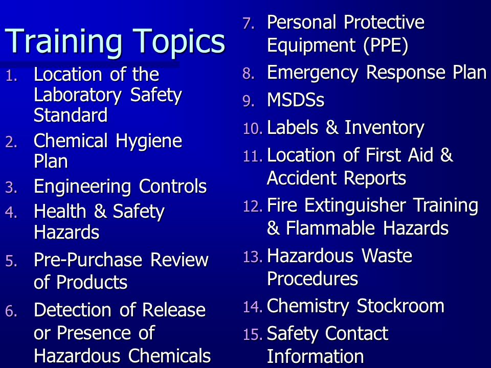 Training Topics Personal Protective Equipment (PPE)