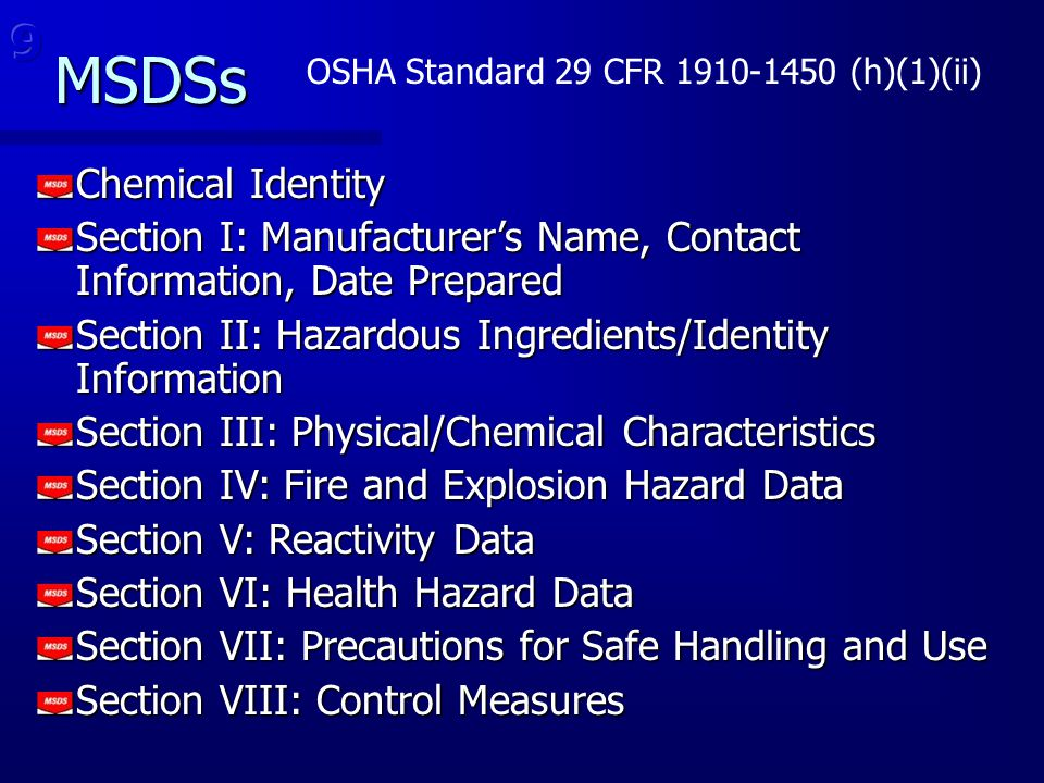 MSDSs 9 Chemical Identity