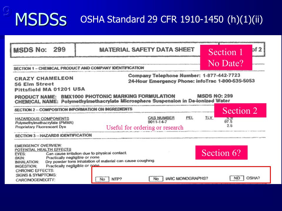 MSDSs 9 OSHA Standard 29 CFR 1910-1450 (h)(1)(ii) Section 1 No Date