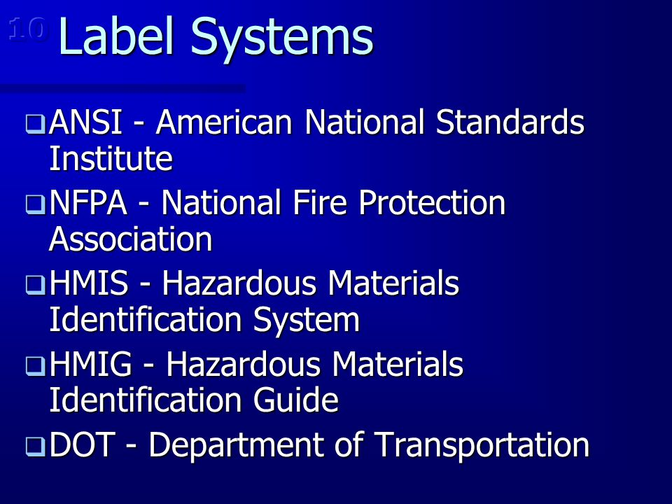 Label Systems ANSI - American National Standards Institute