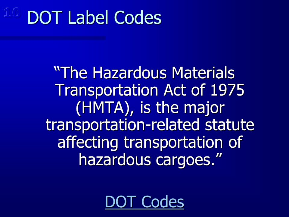10 DOT Label Codes.