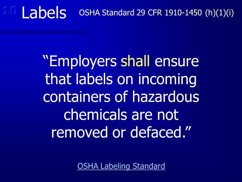 OSHA Labeling Standard