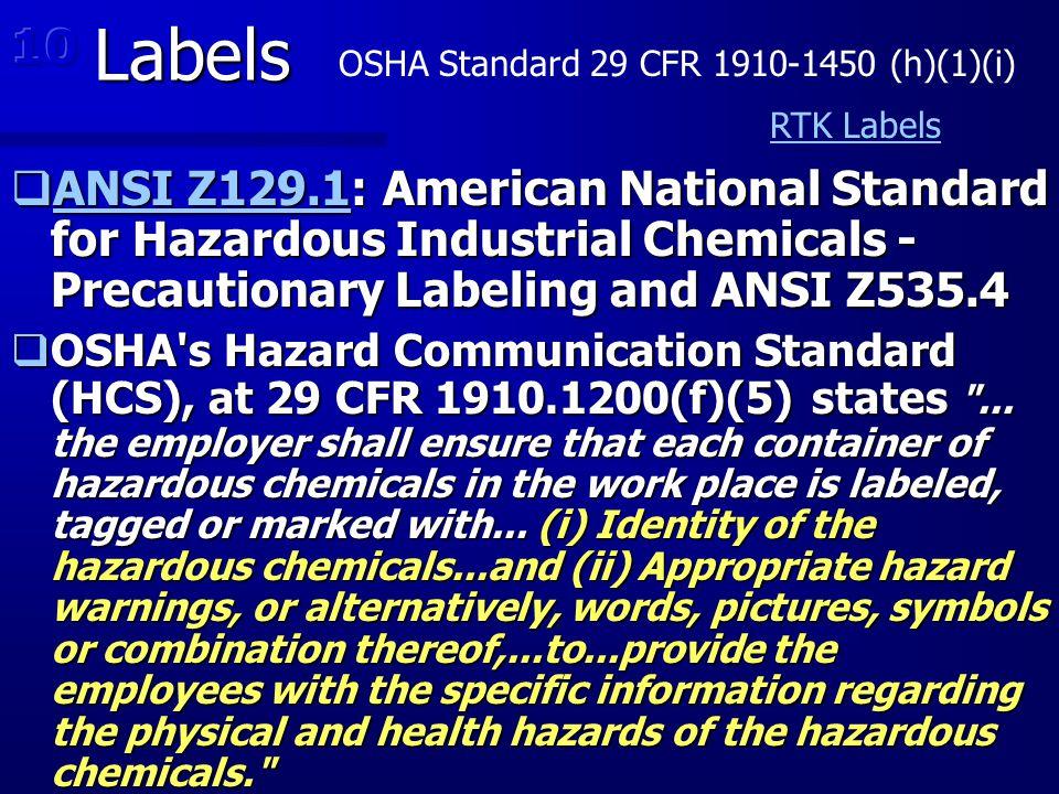 OSHA Standard 29 CFR 1910-1450 (h)(1)(i)