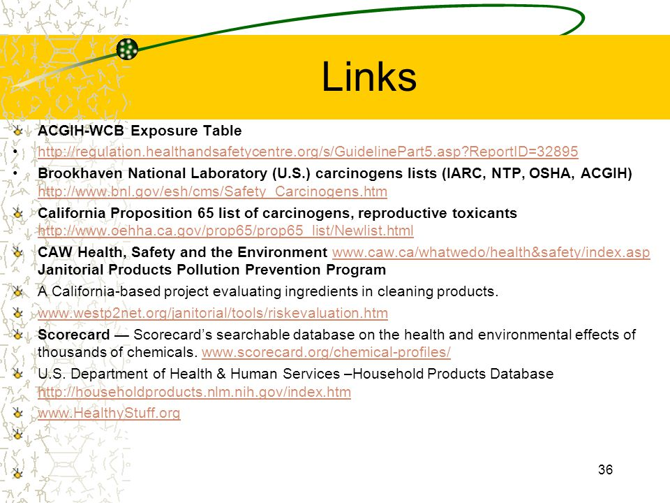 Links ACGIH-WCB Exposure Table