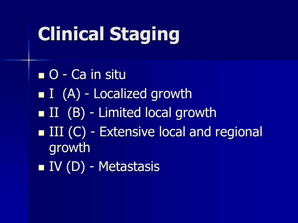 Clinical Staging O - Ca in situ I (A) - Localized growth