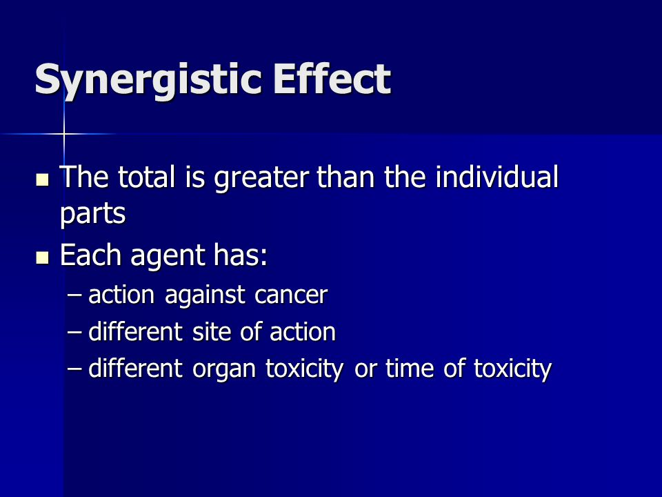 Synergistic Effect The total is greater than the individual parts