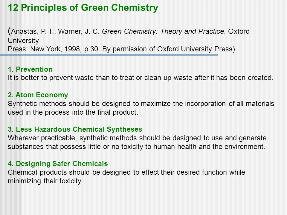 12 Principles of Green Chemistry