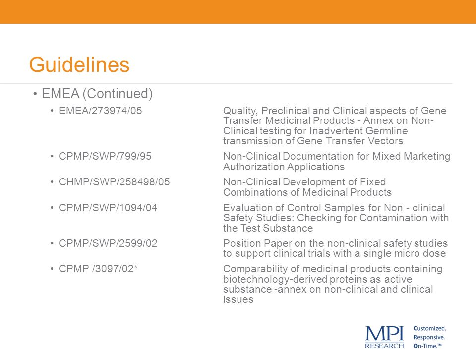 Guidelines EMEA (Continued)