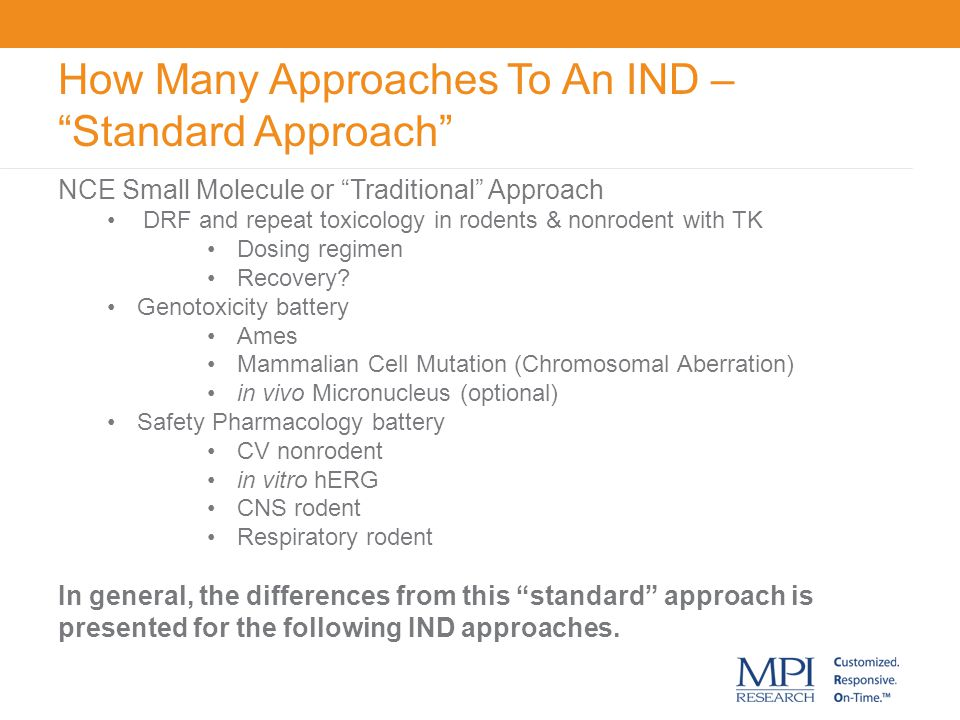 How Many Approaches To An IND – Standard Approach