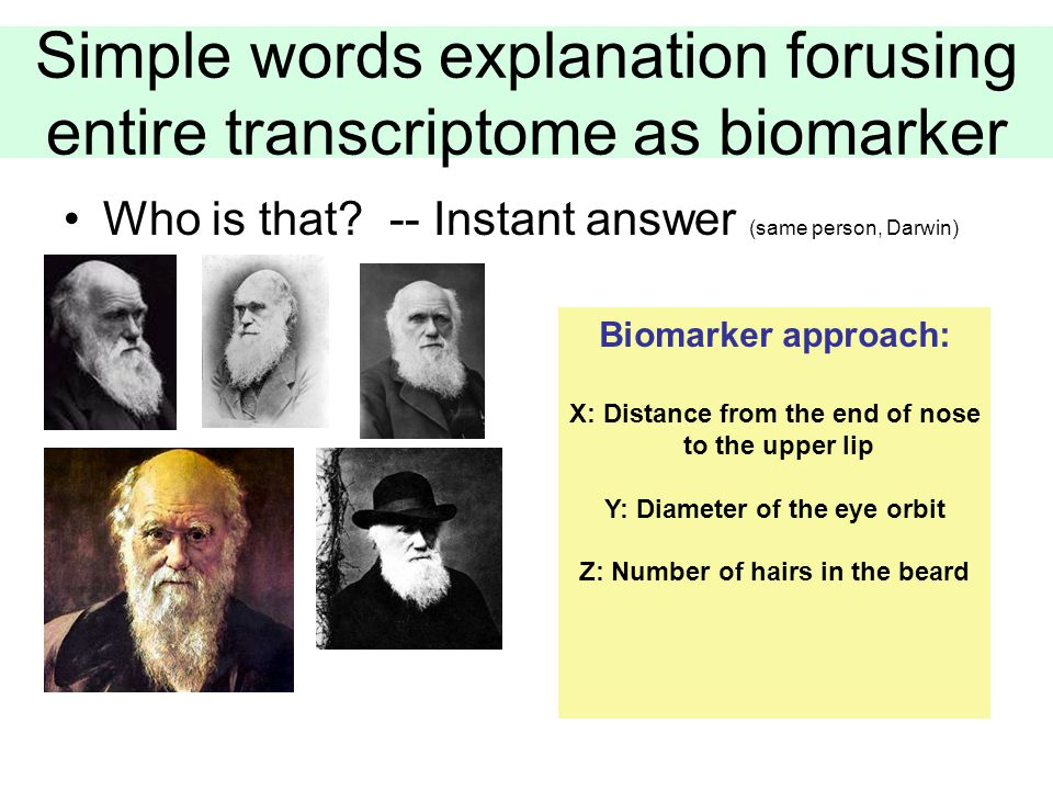 Simple words explanation forusing entire transcriptome as biomarker