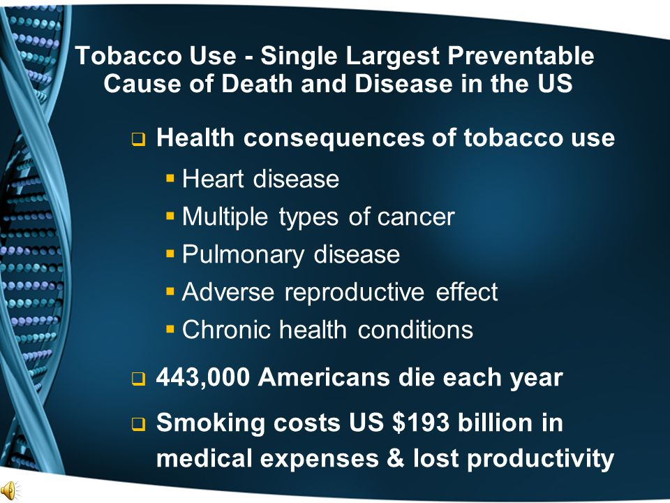 Tobacco Use - Single Largest Preventable Cause of Death and Disease in the US