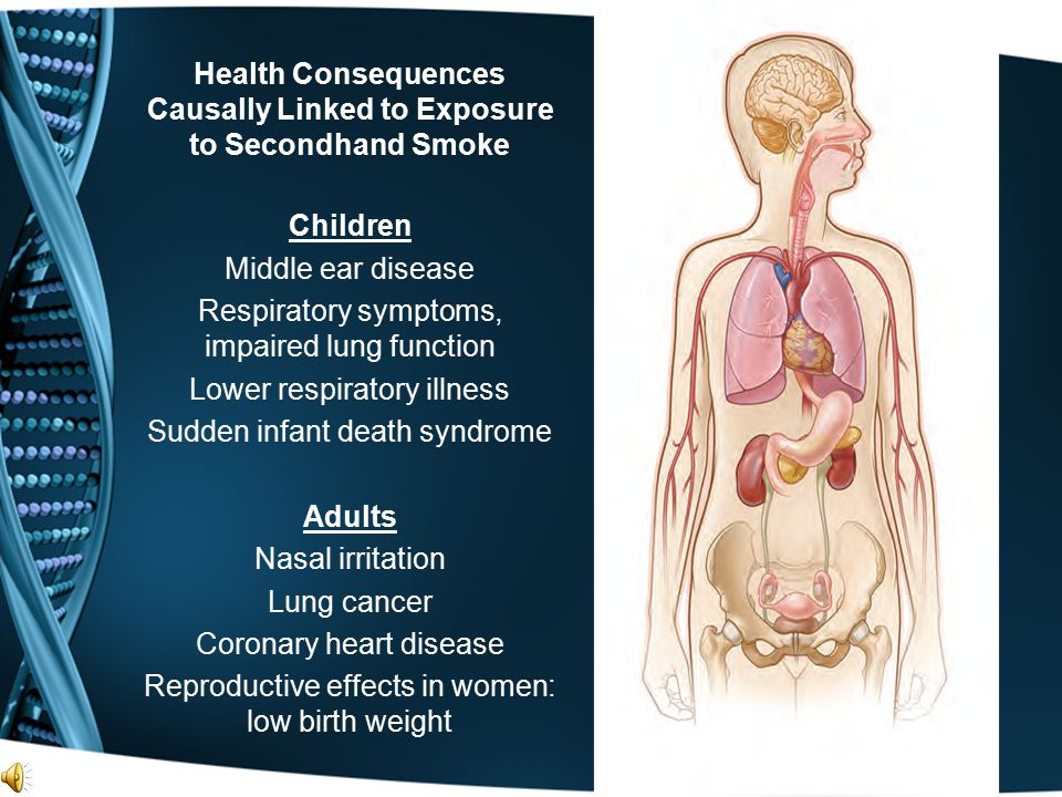 Health Consequences Causally Linked to Exposure to Secondhand Smoke