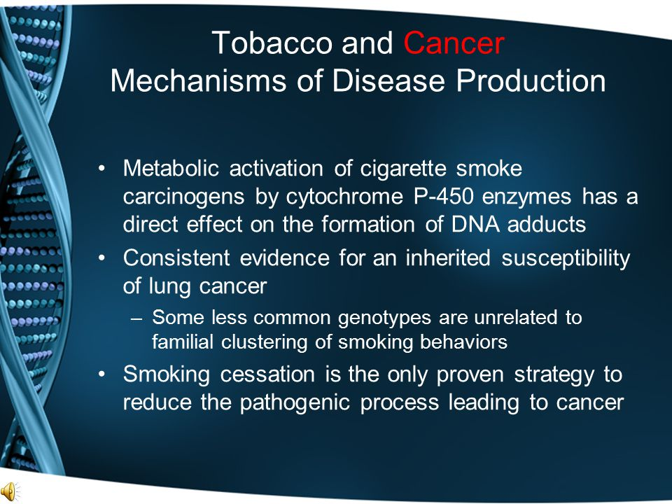Tobacco and Cancer Mechanisms of Disease Production