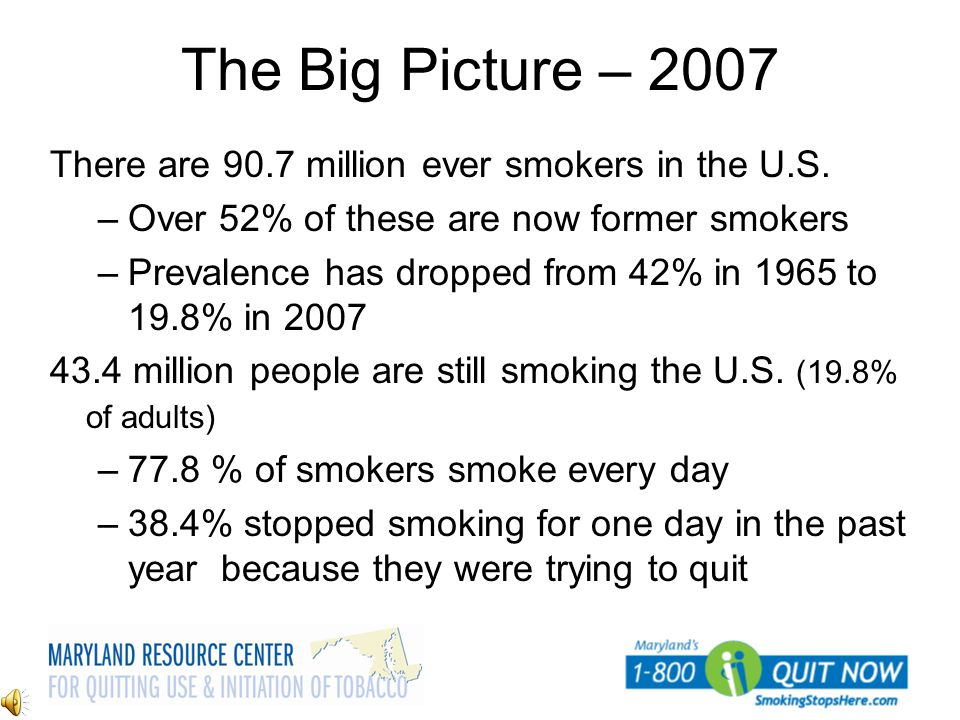 The Big Picture – 2007 There are 90.7 million ever smokers in the U.S.