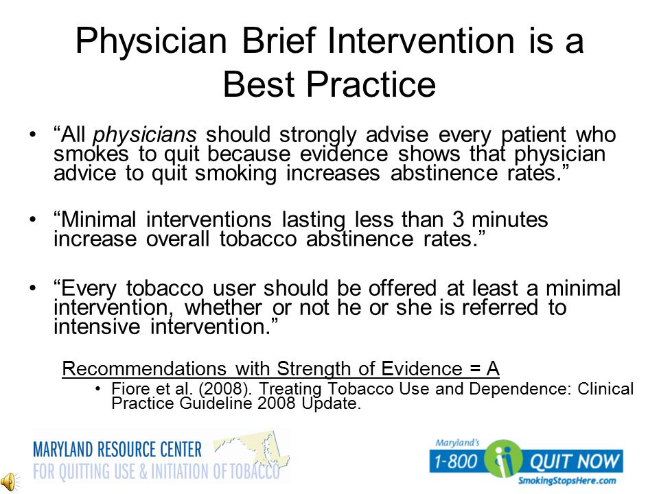 Physician Brief Intervention is a Best Practice