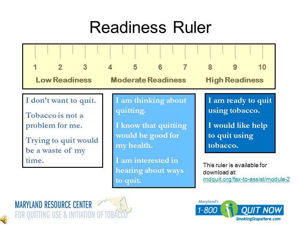 Readiness Ruler I don't want to quit. Tobacco is not a problem for me.