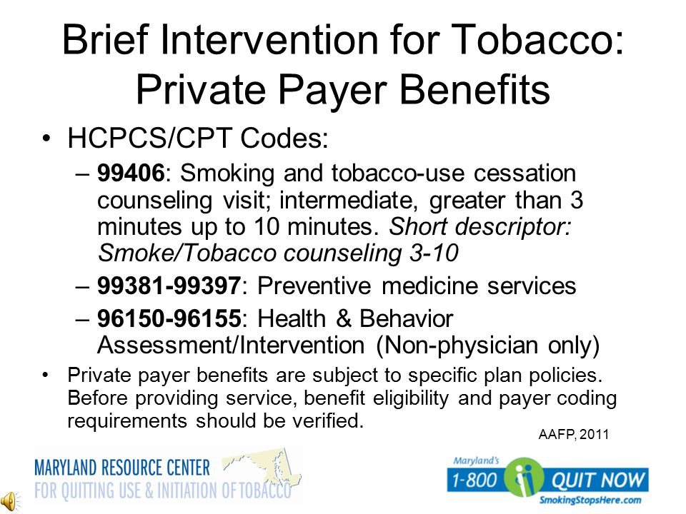 Brief Intervention for Tobacco: Private Payer Benefits