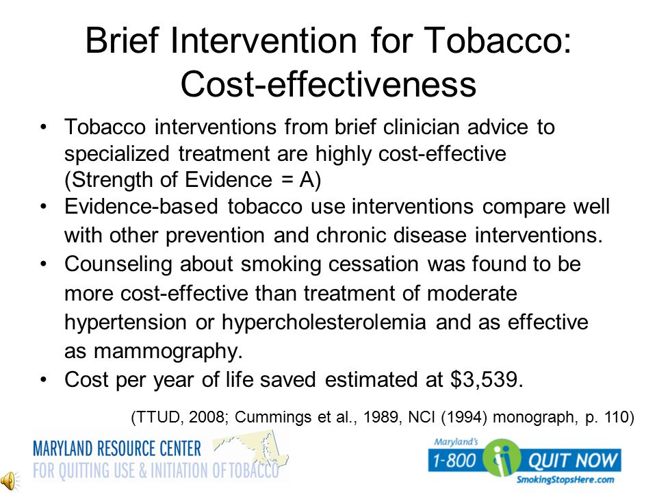 Brief Intervention for Tobacco: Cost-effectiveness