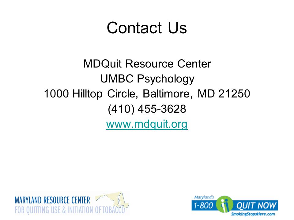 Contact Us MDQuit Resource Center UMBC Psychology