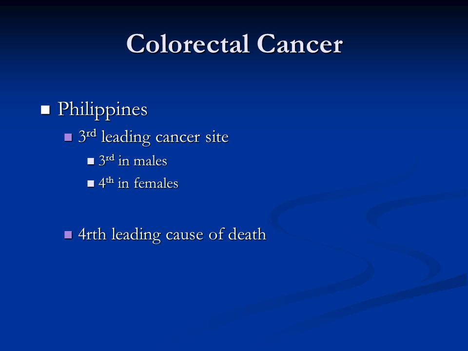 Colorectal Cancer Philippines 3rd leading cancer site