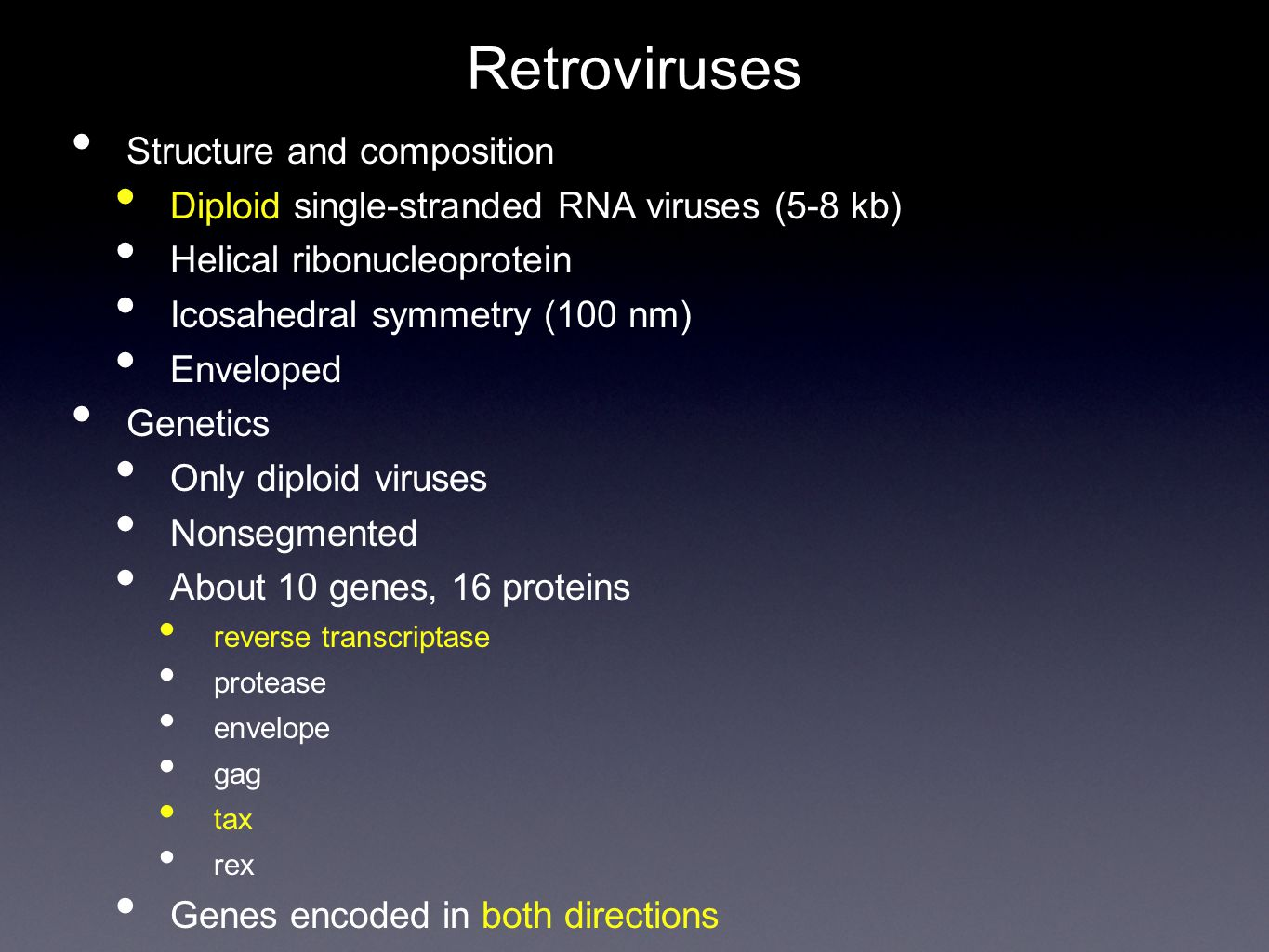 Retroviruses Structure and composition