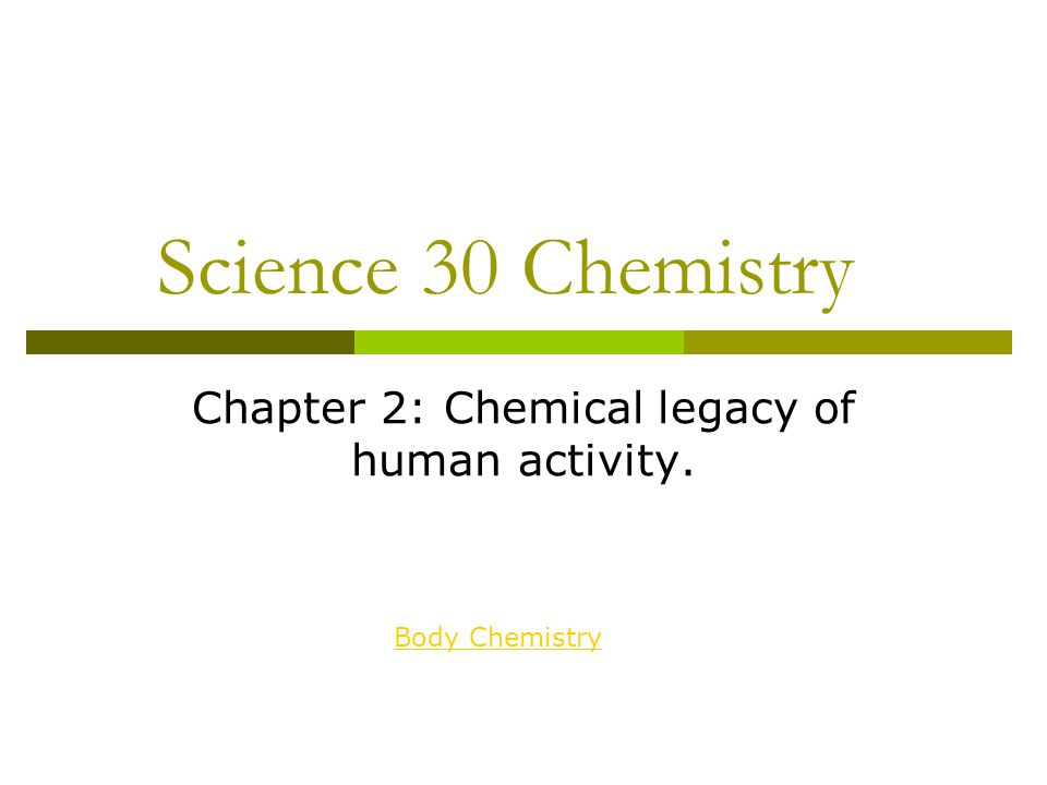 Chapter 2: Chemical legacy of human activity.