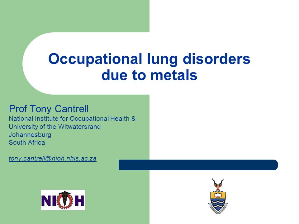 Occupational lung disorders due to metals
