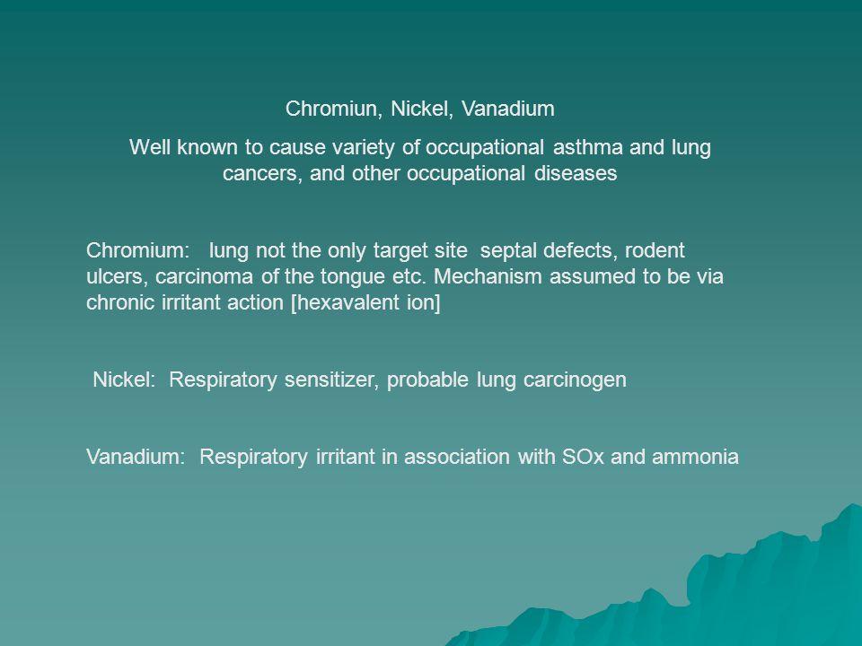 Chromiun, Nickel, Vanadium