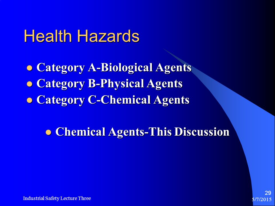 Chemical Agents-This Discussion
