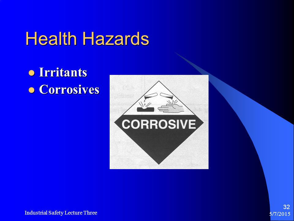 Health Hazards Irritants Corrosives Industrial Safety Lecture Three
