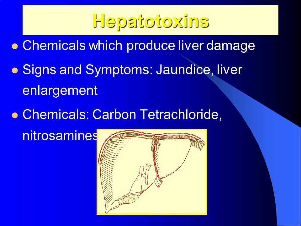 Hepatotoxins Chemicals which produce liver damage