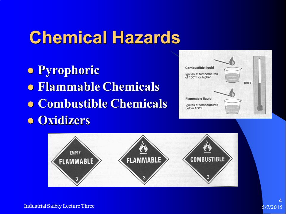 Chemical Hazards Pyrophoric Flammable Chemicals Combustible Chemicals