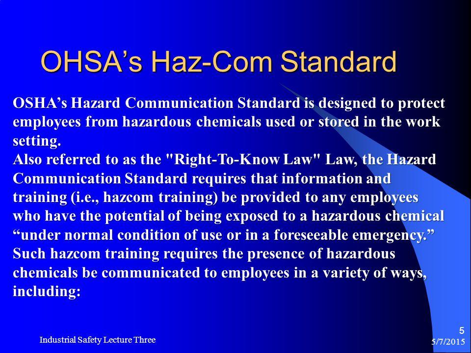 OHSA's Haz-Com Standard