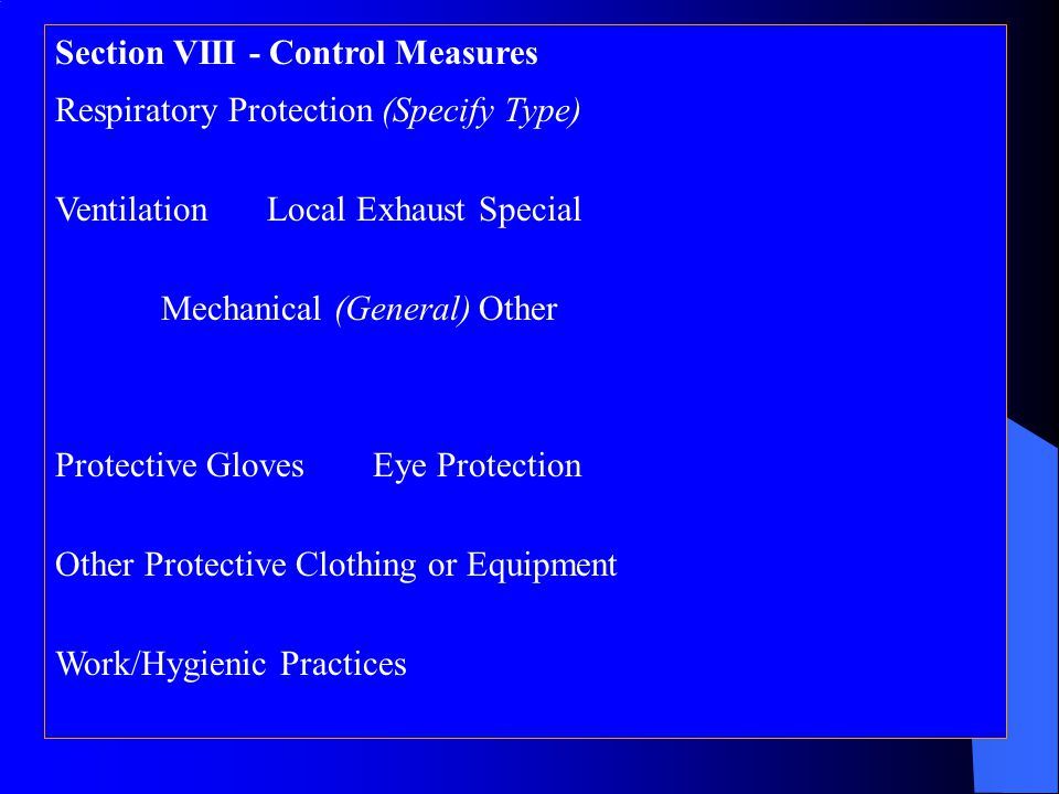 Section VIII - Control Measures