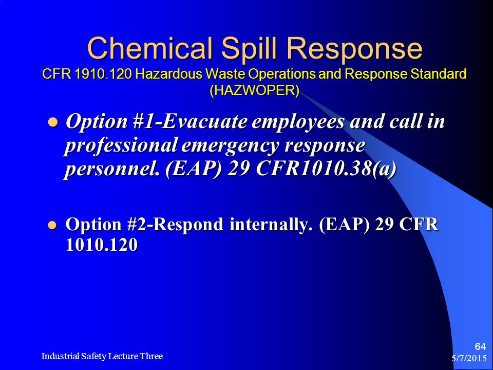 Chemical Spill Response CFR 1910