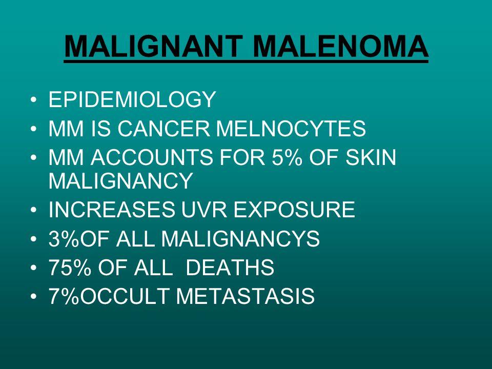 MALIGNANT MALENOMA EPIDEMIOLOGY MM IS CANCER MELNOCYTES