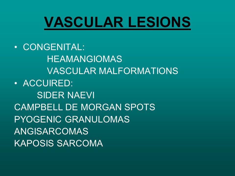 VASCULAR LESIONS CONGENITAL: HEAMANGIOMAS VASCULAR MALFORMATIONS