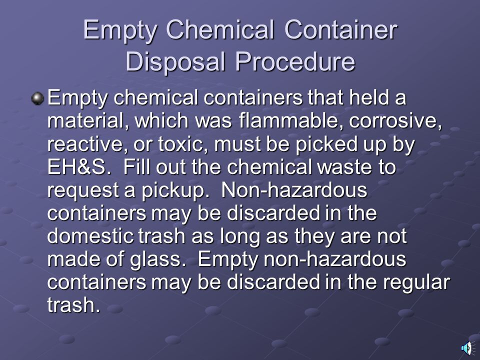 Empty Chemical Container Disposal Procedure