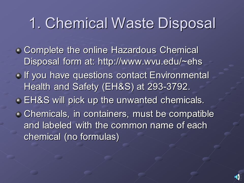 1. Chemical Waste Disposal