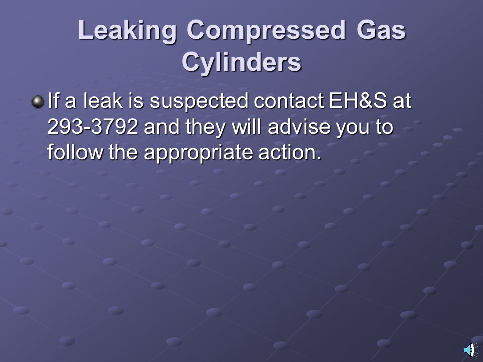 Leaking Compressed Gas Cylinders
